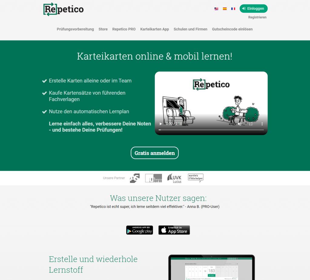 repetico Startseite
