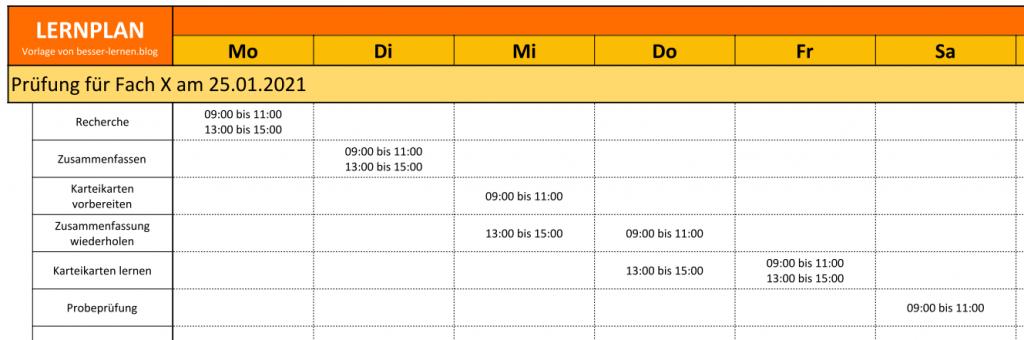 Lernplan PDF Vorlage zum Ausdrucken - Beispiel